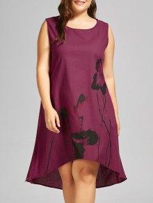فستان سترة الحجم الكبير طباعة عالية انخفاض بلا أكمام - احمر غامق 4xl