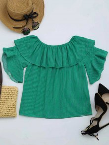 Flounce Off The Shoulder Striped Blouse