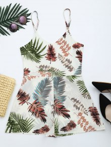 Leaves Print Cut Out Cami Romper