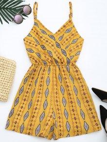 Geometric Print Cami Romper - Yellow