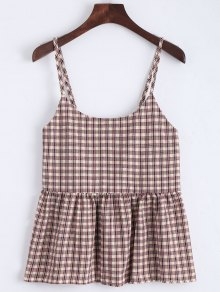Flounce Checked Cami Top - Checked M