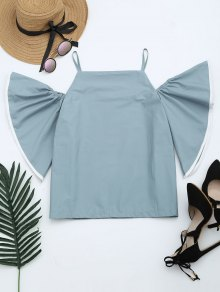 Flare Sleeve Cami Blouse - Blue Gray