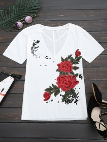 Floral Patched Cut Out Drop Shoulder Tee - White Xl