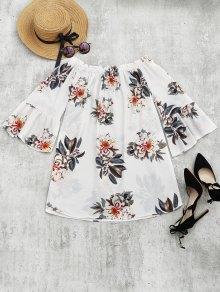 Floral Print Flare Sleeve Shift Dress