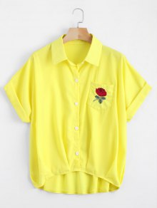 Button Up Floral Patched Pocket Blouse - Yellow