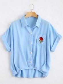 Button Up Floral Patched Pocket Blouse - Light Blue