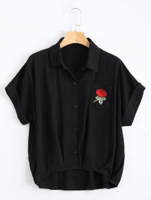 Button Up Floral Patched Pocket Blouse - Black
