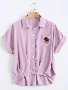 Button Up Floral Patched Pocket Blouse - Light Purple