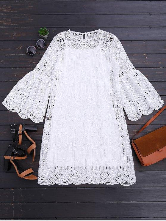 Vestido a cuadros con festón y vestido Cami - Blanco L
