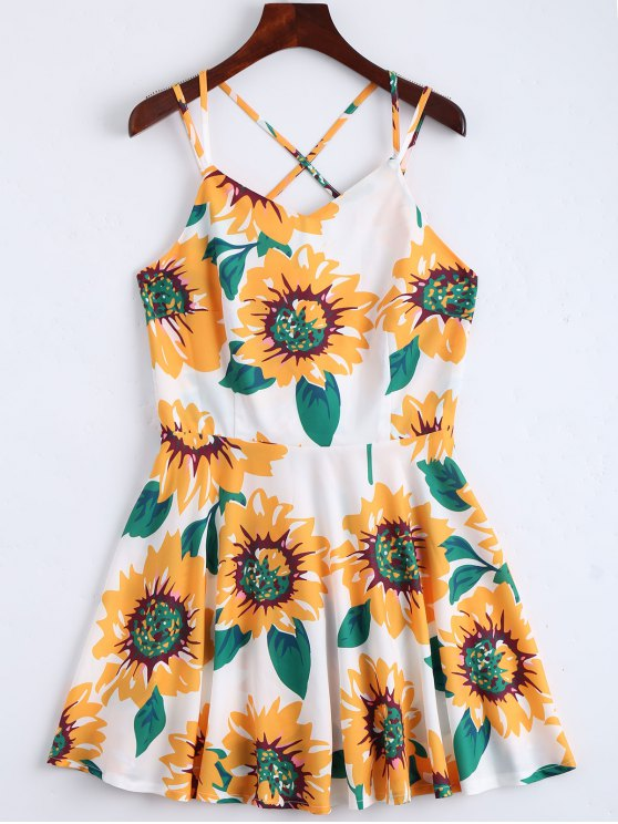 ladies Sunflower Print Open Back Cami Sundress - WHITE S