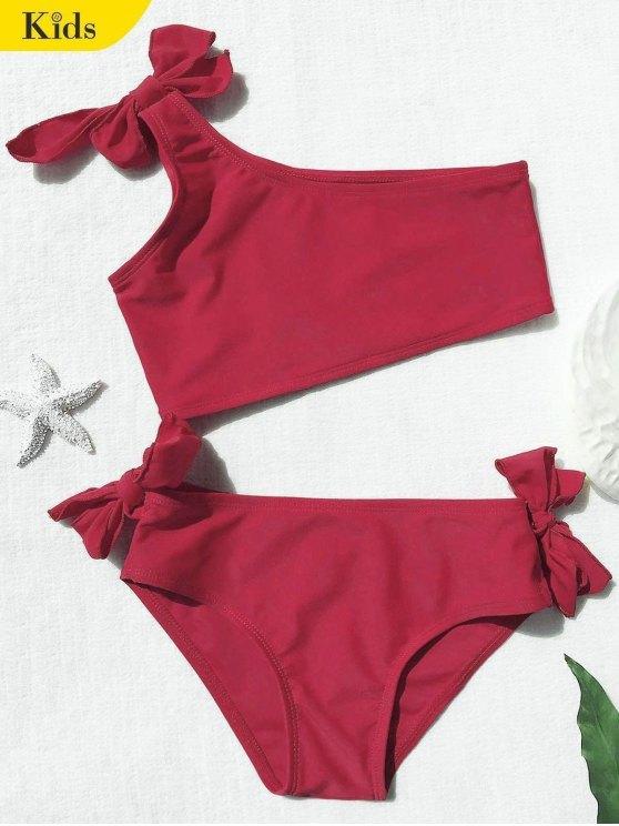 Tie nudo un hombro conjunto de bikini niñas - Rojo 6T