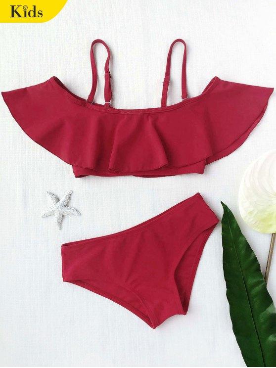 Layered Off el conjunto de bikini de las muchachas del hombro - Burdeos 4T