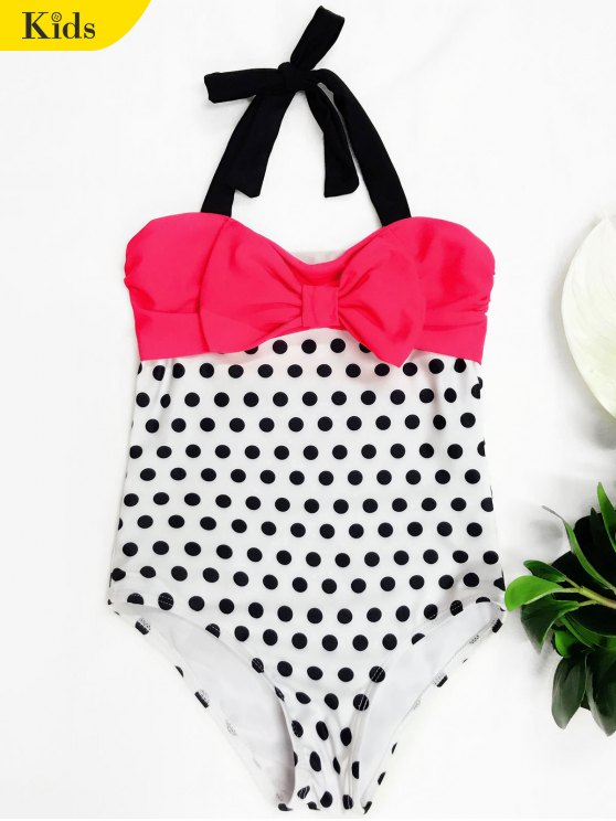 Bowknot Polka Dot One Piece Swimwear - Blanco 4T