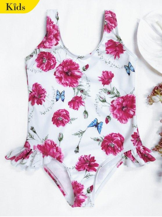 Scoop floral con rizado niño traje de baño - Blanco 7T