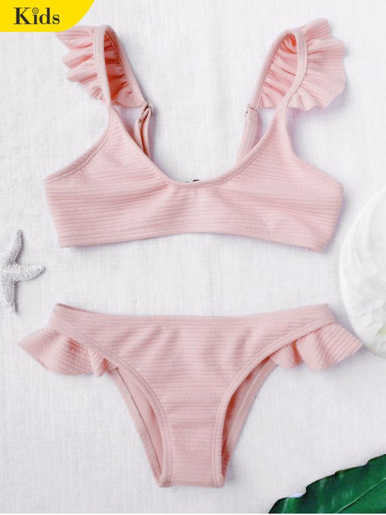 Scoop Ribbed Textura Frilled Bikini - Rosado Claro 5T