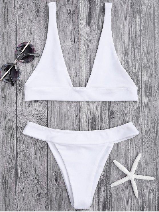 Plongez le bas de bikini et le fond de coupe - Blanc M