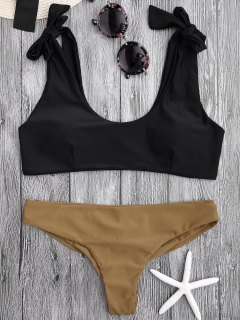 Tie Shoulder Padded Scoop Bikini Set - Black S