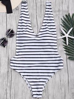 الجانب معتوه مخطط قطعة واحدة ملابس السباحة - أبيض وأسود L
