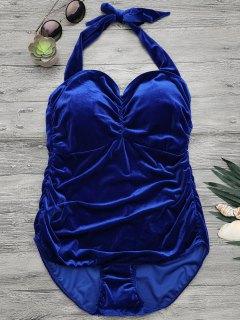 Halter Padded Velvet Plus Size Bathing Suit - Royal 3xl