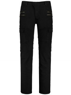 Zips Cargo Pants With Multi Pockets - Black 3xl
