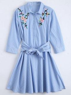 تعادل الزهور مطرز مخطط قميص اللباس - أزرق M