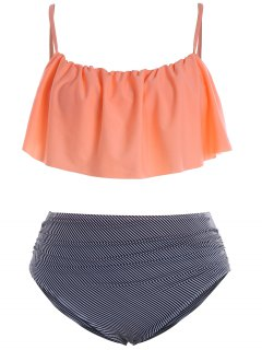 Plus Size Padded Stripe Flounce Bikini Bathing Suit - Orangepink 2xl