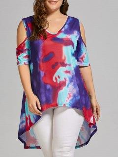 Plus Size Tie Dye Cold Shoulder High Low T-shirt - Multicolor 3xl