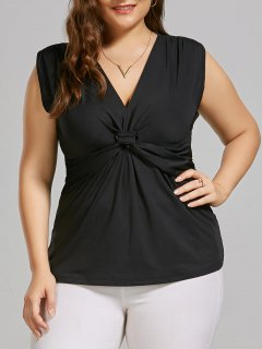 Plus Size Sleeveless Front Knot Top - Black 5xl