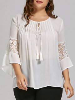 Plus Size Sheer Chiffon Bohemian Top With Lace Trim - White 5xl