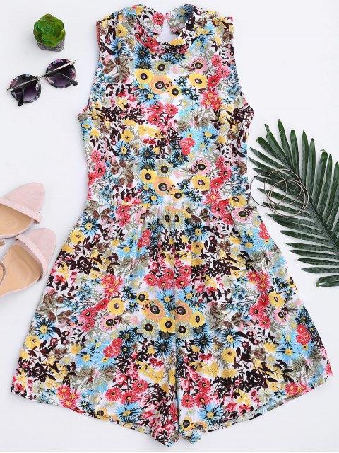 Combinaison imprimée florale à dos nu - Floral XL Mobile