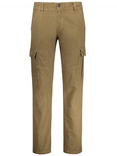 sale Straight Cargo Pants with Multi Pockets - KHAKI 32 Mobile