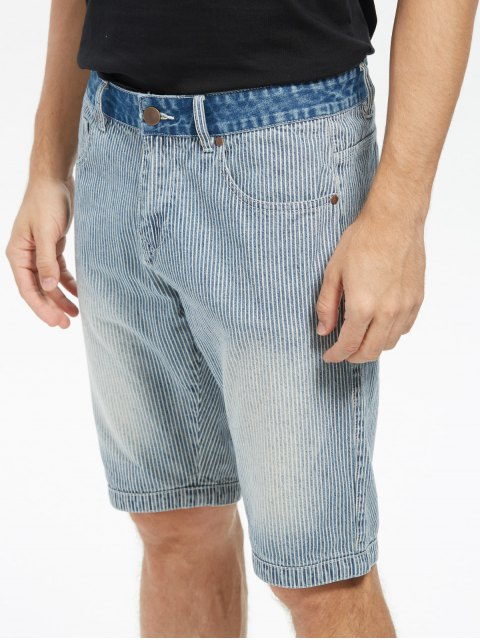 shops Zip Fly Vertical Stripe Denim Shorts - LIGHT BLUE 38 Mobile