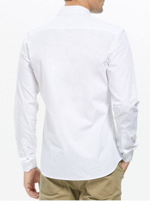fancy Button Down Business Pocket Shirt - WHITE 2XL Mobile