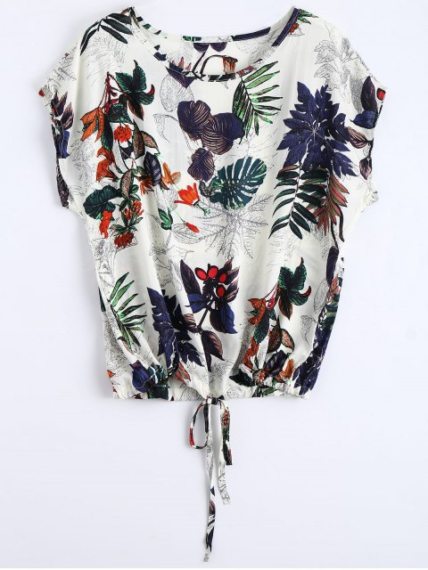buy Round Collar Leaves Print Drawstring Blouse - MULTI ONE SIZE Mobile