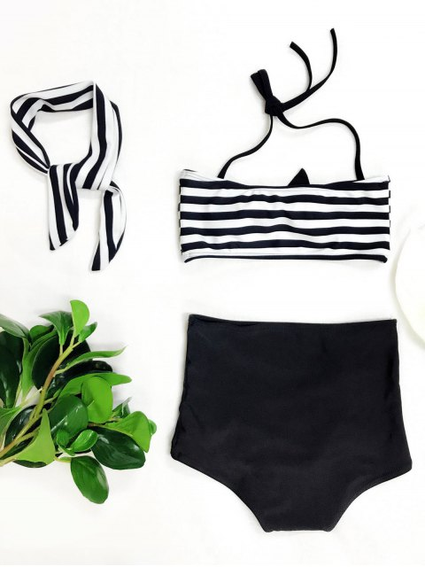 shops High Waisted Bandeau Bikini With Headband - WHITE AND BLACK 4T Mobile