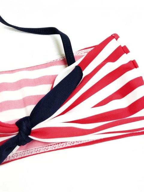 fashion High Waisted Bandeau Bikini With Headband - BLUE AND RED 3T Mobile