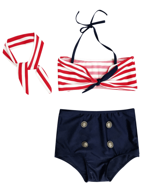 fancy High Waisted Bandeau Bikini With Headband - BLUE AND RED 5T Mobile