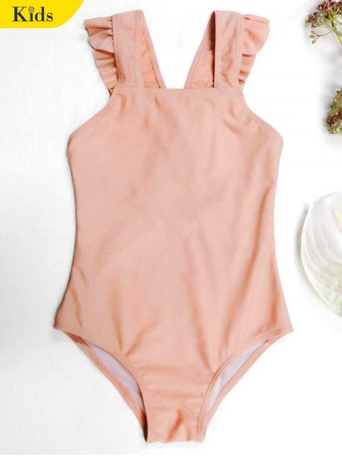 lady Square Neck Frilled Girls Swimwear - ORANGEPINK 7T Mobile