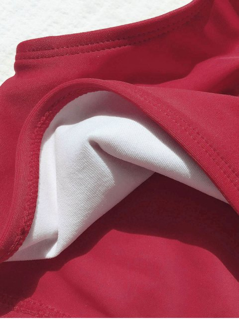 best Tie Knot One Shoulder Girls Bikini Set - RED 3T Mobile
