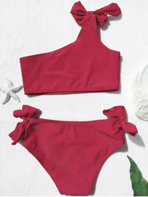 new Tie Knot One Shoulder Girls Bikini Set - RED 5T Mobile