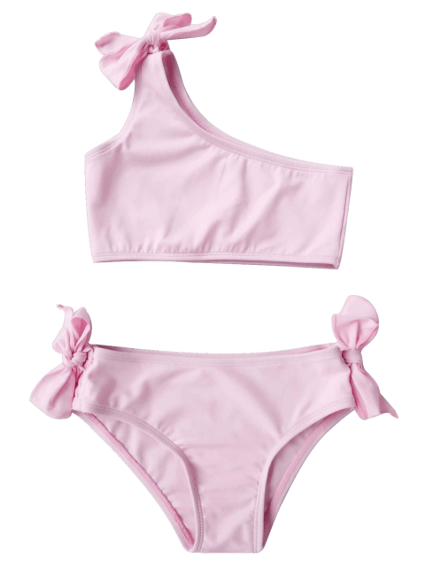 outfit Tie Knot One Shoulder Girls Bikini Set - PINK 3T Mobile