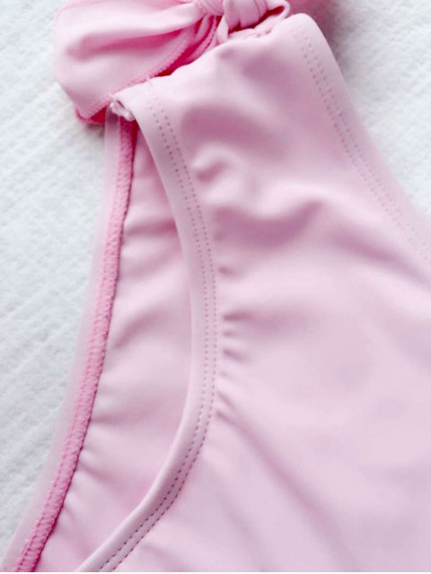 shop Tie Knot One Shoulder Girls Bikini Set - PINK 5T Mobile