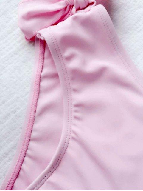 shops Tie Knot One Shoulder Girls Bikini Set - PINK 6T Mobile