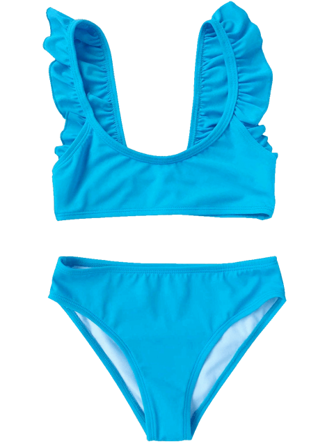 latest Scoop Neck Frilled Bikini Set - BLUE 3T Mobile
