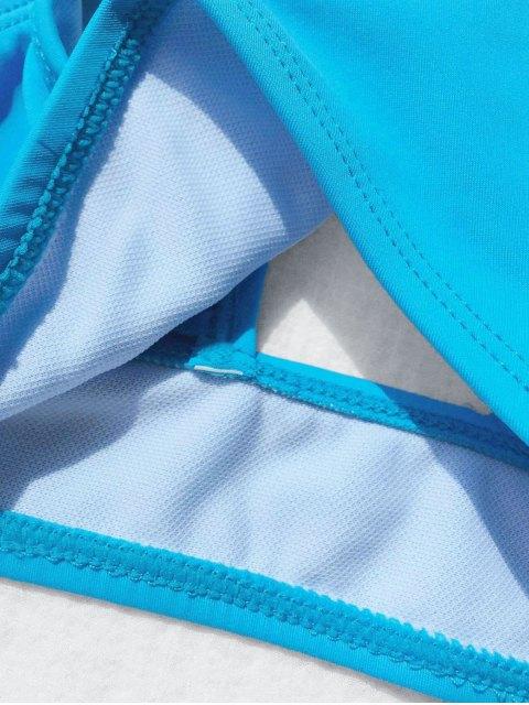 chic Scoop Neck Frilled Bikini Set - BLUE 6T Mobile