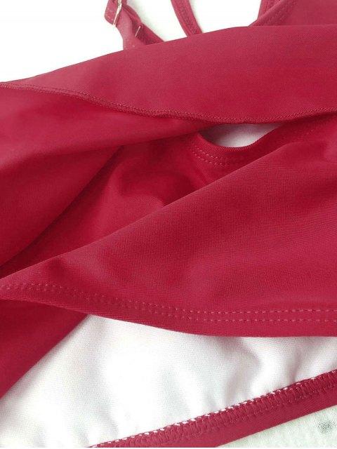 fancy Layered Off The Shoulder Girls Bikini Set - BURGUNDY 3T Mobile