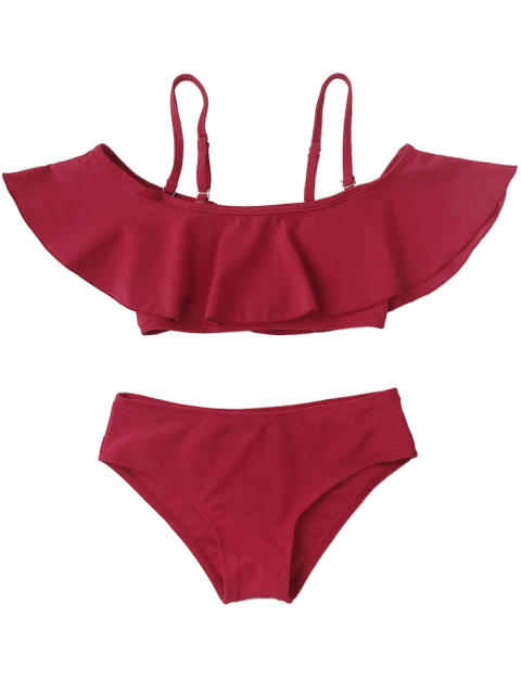 unique Layered Off The Shoulder Girls Bikini Set - BURGUNDY 4T Mobile