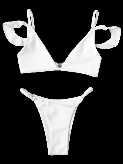 women Cami Ruffle Sleeve Girls String Bikini Set - WHITE 5T Mobile