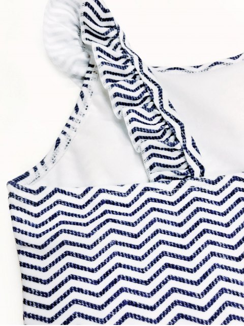 lady Frilled Zig Zag One Piece Swimwear - BLUE AND WHITE 5T Mobile