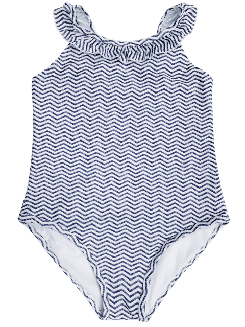 best Frilled Zig Zag One Piece Swimwear - BLUE AND WHITE 6T Mobile